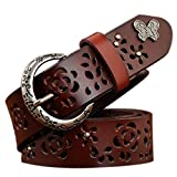 Product review for TUNGHO Vintage Genuine Leather Belts For Women Hollow Strap Crescent Needle Buckle