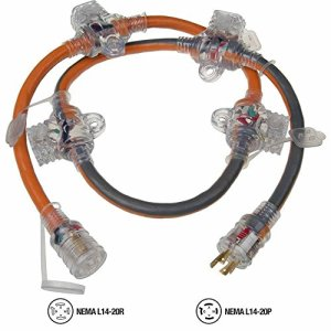 RIDGID 5 ft. 12/4 In-Line Multi-Outlet Generator Cord (20 Amp/125 V)