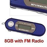 Ecloud ShopUS Blue 8GB 8G USB Flash Drive LCD Mini MP3 Player w/ FM Radio