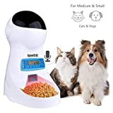 Automatic Pet Feeder, Dogs Cats Food Dispenser with Voice Record Remind, Timer Programmable, Portion Control, Distribution Alarm, IR Detect, 4 Meals a Day for (Medium & Small) Dogs Cats