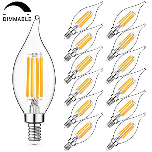 E12 LED Candelabra Bulb 60W Equivalent Dimmable LED Chandelier Light Bulbs 6W, 2700K Warm White, 600LM CA11 Flame Tip Vintage LED Filament Candle Bulb with Decorative Candelabra Base, 12-Pack
