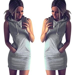 UPLOTER Fashion Womens Summer Casual Sleeveless Hoody Dress