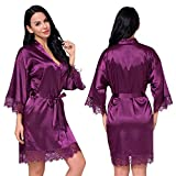 Women's Satin Silk Robe in Lace Stitching Sexy V-Necked Pajamas Kimono Nightgown Bridesmaids Sleepwear (Claret, L)