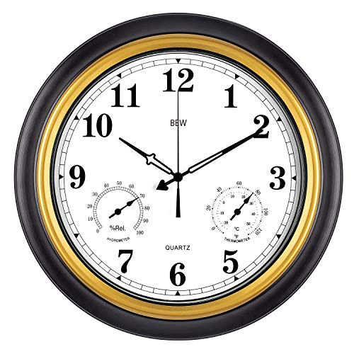 BEW Large Outdoor Clock, 18 Inch Thermometer & Hygrometer Combo Waterproof Garden Wall Clock, Silent Accurate Home Decoration for Patio/Pool/Lanai (Metal, Black-Gold)