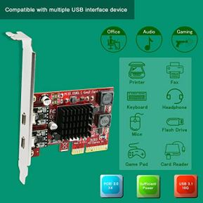 PCI-Express-to-2X-USB-31-Gen2-Type-C-10Gbps-Ports-Expansion-Card-for-Windows-788110Server-3264-and-MAC-OS-10910101012101310141015-PCs-with-Smart-Power-Control-TechnologyPCE-U312C