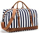 Overnight Bag Weekender Women Ladies Travel Duffel Bag Canvas Genuine Leather Luggage Weekend Tote (Blue stripe)