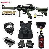 MAddog Tippmann Cronus Tactical Beginner Protective HPA Paintball Gun Package - Black/Olive