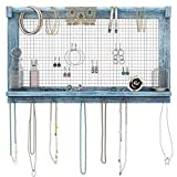 Comfify Rustic Jewelry Organizer - Wall Mounted Jewelry Holder Organizer with Removable Bracelet Rod and 16...