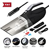 ProGreen 4-in-1 Portable Handheld Car Vacuum Cleaner High Power 12V Auto Wet/Dry Vehicle Vacuum 120W 4500Pa 14ft Power Cord for car with Tire Inflator Pump Pressure Gauge and Led Light