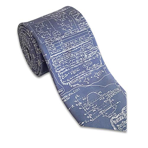 Josh Bach Men's Physics, Engineering, Math Formula Silk Necktie Blue, Made in USA