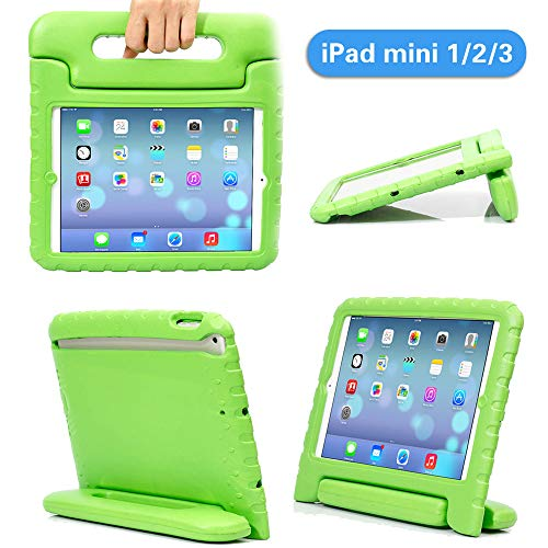 iPad Mini Case iPad Mini 2 case iPad Mini 3 Case with Adjustable Handle Stand Antibacterial Shockproof Anti-Fall EVA Rugged Kids Cover Case for Apple iPad Mini 1/2/3 (Green)