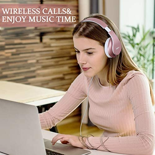Bluetooth Headphones,TUINYO Wireless Headphones Over Ear with Microphone, Foldable & Lightweight Stereo Wireless Headset for Travel Work TV PC Cellphone-Rose Gold 13