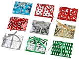 Christmas & Holiday Foil Decorative Wrapped Gift Card with Ribbon Holder Boxes, Set of 9