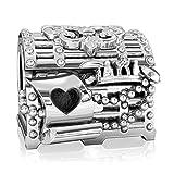 Authentic BELLA FASCINI Fairytale Fleur de Lis Jewelry Treasure Chest Charm Bead - Silver - Fits Bracelet