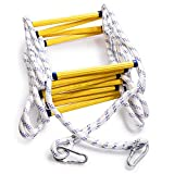 Aoneky Fire Escape Rope Ladder - Flame Resistant Emergency Fire Safety Evacuation Ladder with Hook Carabins for Kids and Adults, 2-3 Story Fire Rescue Ladder (32 Ft)