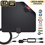 HDTV Antenna, 2019 Update Indoor Digital Amplified TV Antennas 80-100 Miles Range Smart Amplifier Signal Booster for 4K 1080P UHF VHF Freeview HDTV Channels, 14ft Coax Cable