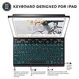 YEKBEE iPad Keyboard Case for New 2018 iPad, 2017 iPad, iPad Pro 9.7, iPad Air 1 and 2 - BT Backlit Detachable Quiet Keyboard - Slim Leather Folio Cover - 7 Color Backlight - Apple Tablet