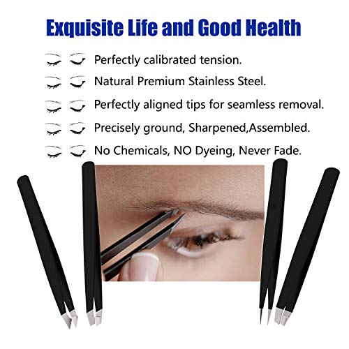 RoosterCo Eyebrow Tweezer Set with Travel Case,4-piece Daily Beauty Tools for Hair Removal, Best Precision (Black) 5