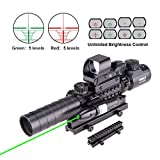 "Pinty Rifle Scope 3-9x32EG Rangefinder Illuminated Reflex Sight 4 Reticle Red&Green Green Dot Laser Sight with 14 Slots 1"" High Riser Mount"