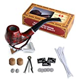 Joyoldelf Wooden Cigarette Tobacco Smoking Pipe with 3-in-1 Pipe Scraper + 2 Cork Knockers + 10 Pipe Cleaners + 2 Metal Screen Percolator Leach Nets + 3 Packs of 5 Pipe Screens + Pipe Holder