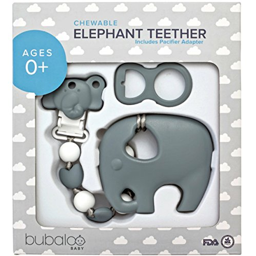 BABY TEETHING TOYS BPA FREE - Silicone Elephant Teether with Pacifier Clip Holder Set for Newborn Babies - Freezer Safe   Baby Shower Gift Idea for Stylish Little Boys and Girls - Infant Unisex Chew