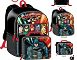 Justice League Batman Superman Flash Boys Kids School Backpack Bookbag Combo Set