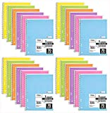 Mead Spiral Notebook, 24 Pack of 1-Subject Wide Ruled Spiral Bound Notebooks, Pastel Color Cute school Notebooks, 70 Pages