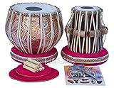 Tabla Drum Set by Maharaja Musicals, Professional, 3.5 Kg Copper Bayan - Designer Carving, Sheesham Tabla Dayan, Padded Bag, Book, Hammer, Cushions, Cover, Tabla Musical Instrument (PDI-CJH)