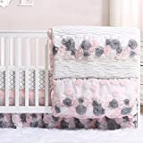 Colette Pink and Grey Floral 3 Piece Crib Bedding Set by The Peanut Shell