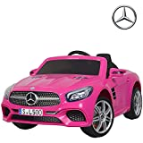 Uenjoy 12V Licensed Mercedes-Benz SL500 Kids Ride On Car Electric Cars Motorized Vehicles for Girls, Remote Control, Music, Horn, Spring Suspension, Safety Lock, Pink