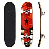 YUEBO Skateboard 31' x 8' Complete PRO Skateboard, Double Kick Concave Design 9 Layer Canadian Maple Wood Adult Tricks Skate Board for 5 Up Years Old Beginner, Kids, Boys, Girls