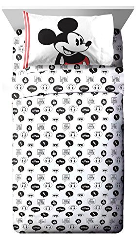 Jay Franco Disney Mickey Mouse Jersey White 3 Piece Twin Sheet Set
