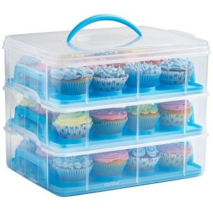 VonShef 36 Cupcake Carrier with Handle – Stackable Caddy – 3 Tier Plastic Cake and Muffin Holder – Snap and Stack Design – Blue 51aC19sidOL