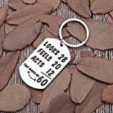Funny Happy 60th Birthday Keychain Gifts for Men Women Turning 60 Gifts 60 Years Old Gifts for/from Husband Wife Grandma Grandpa Mom Dad Newly Turned 60th B-Day Key Ring Presents Him Her