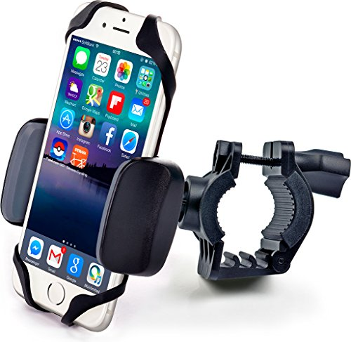 Bike & Motorcycle Phone Mount - for iPhone Xs (Xr, X, 8, 7, 6, Plus/Max), Samsung Galaxy or Any Cell Phone - Universal Handlebar Holder for ATV, Bicycle and Motorbike. +100 to Safeness & Comfort