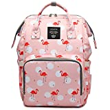 Cute Backpack Waterproof Baby Diaper Bag for Girls Boys, Lightweight, Wide Open, Large Capacity Bookbag for Mom Dad (Pink Famingo)