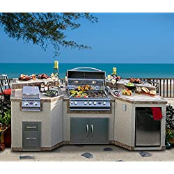 3 Piece Island with 4 Burner Natural Gas BBQ Grill & Rotisserie
