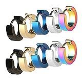 CrazyPiercing Stainless Steel Mens Womens Hoop Earrings Piercings Huggie Hypoallergenic (5 Pair)