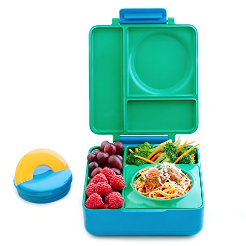 OmieBox Bento Lunch Box for Hot & Cold Food | 3 Compartments, Two Temperature Zones + Thermos Food Jar for Kids - Leak-Proof and Insulated - (Meadow) (Single)