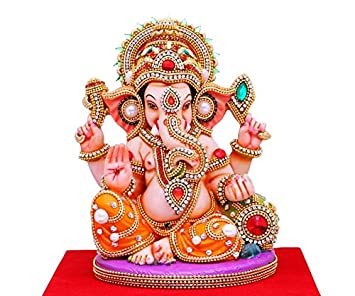 Buy Papilon Takiya Handmade Gold Plated Ganesh Ji Statue Multicolour 8 X 8 X 8 Inch Online At Low Prices In India Amazon In