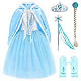 Princess Snow Queen Elsa Costumes Fancy Party Birthday Dress Up for Girls with Accessories 6-7 Years(130cm)