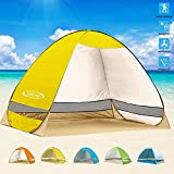 G4Free Outdoor Automatic Pop up Instant Portable Cabana Beach Tent 2-3 Person Camping Fishing Hiking Picnicing Anti UV Beach Tent Beach Shelter, Sets up in Seconds(Mango)