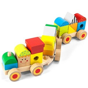 Imagination Generation Wooden Wonders Bold & Brilliant Stacking Train with 23 Zany Blocks 51aOXtYcrGL