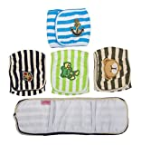 SET - 4pcs Lillypet Dog Puppy Diaper Washable MALE Belly Band for Small and Medium Dog Random Colors L