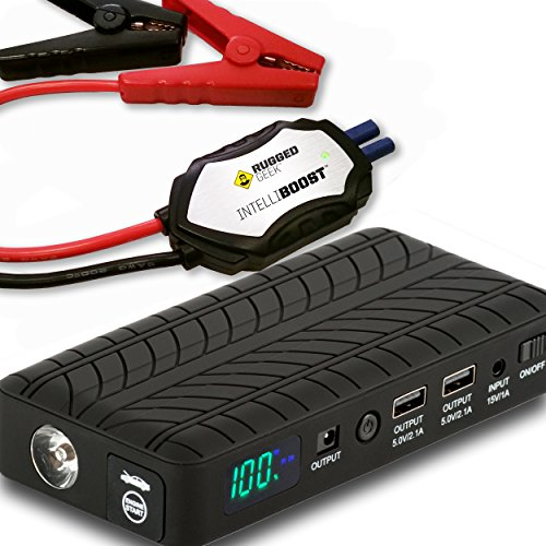 Rugged Geek RG1000 Safety - Portable Lithium Booster Pack Jump Starter and Power Supply