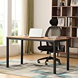 AUXLEY Computer Desk for Home Study, Waterproof and Anti-Scratch Double Deck Wood and Metal Office Table, 55'', Teak