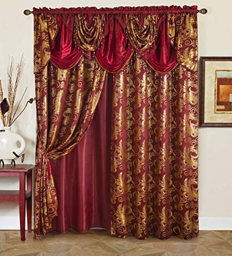 """Golden Rugs Jacquard Luxury Curtain Window Panel Set Curtain with Attached Valance and Backing Bedroom Living Room Dining 112""""X84"""" Each Jana Collection (Burgundy) 1"""