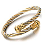 COOLSTEELANDBEYOND Elastic Adjustable Steel Twisted Cable Cuff Bangle Bracelet for Mens for Women Silver Gold Two-tone