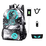 Galaxy Backpack, Anime Luminous Anti-Theft Rucksack, Laptop Backpack with USB Charging Port, Unisex 15.6 Inch College Daypack, Starry Grey