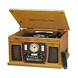 Victrola Nostalgic Aviator Wood 8-in-1 Bluetooth Turntable Entertainment Center, Oak (VTA-600B OK)